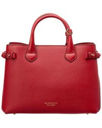Burberry - Medium Banner House Check Canvas & Leather Tote - Lyst