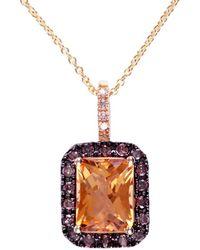 Effy - Fine Jewelry 14k 2.38 Ct. Tw. Diamond & Citrine Necklace - Lyst