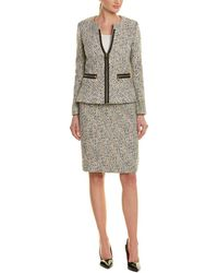 bfb0914a2c3f Tahari Bow-detailed Tweed Skirt Suit in White - Lyst
