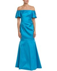 THEIA - Off-the-shoulder Metallic Super Stretch Trumpet Gown - Lyst