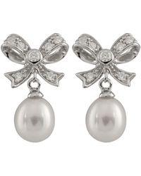 Splendid - Silver 7-8mm Freshwater Pearl Dangling Earring - Lyst