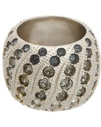 Chanel - Silver-tone & Crystal Ring, Size 7 - Lyst