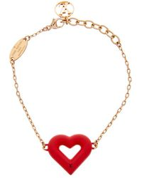 Louis Vuitton - Red & Gold-tone Lv&v Bracelet - Lyst