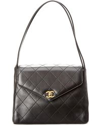 Chanel - Black Quilted Lambskin Leather Envelope Flap Bag - Lyst
