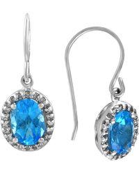 Effy - Fine Jewelry 14k 2.07 Ct. Tw. Diamond & Blue Topatz Drop Earrings - Lyst