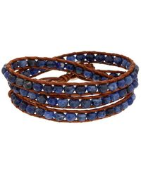Chan Luu - Silver Sodalite Leather Wrap Bracelet - Lyst