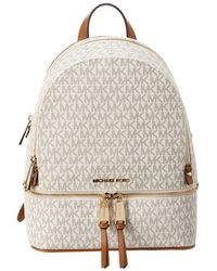 b974d9ef035a Michael Kors Michael Rhea Pebble Leather Backpack in Black - Lyst