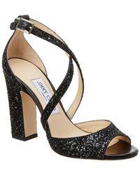 Jimmy Choo - Carrie 100 Coarse Glitter Fabric Sandal - Lyst