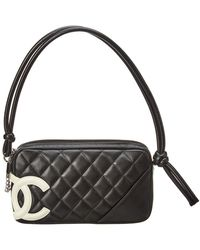 Chanel - Black Quilted Lambskin Leather Cambon Pochette - Lyst