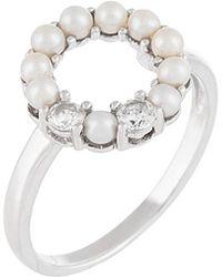 Splendid - Splendid Pearl & Czs Silver 3-3.5mm Freshwater Pearl & Cz Ring - Lyst