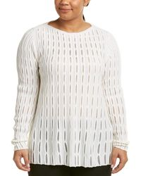 Lafayette 148 New York - Plus Open Mesh Stitch Wool & Cashmere-blend Jumper - Lyst