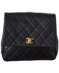 2903ecb3dbb0 Chanel - Black Quilted Caviar Leather Backpack - Lyst