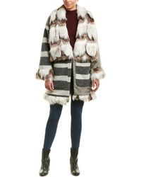 French Connection - Noemi Wool-blend Patchwork Coat - Lyst