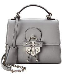Lyst - Ferragamo Large Top Handle Shoulder Bag in White edbad94a0f214