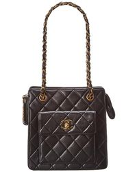 Chanel - Black Quilted Lambskin Leather Mini Tote - Lyst