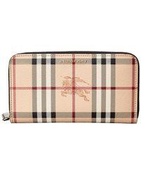 Burberry - Elmore Haymarket Check & Leather Zip Around Wallet - Lyst