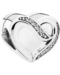 PANDORA - Ribbon Of Love Silver Charm - Lyst