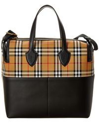 0a534f7cf347 Burberry - Kingswood Check & Leather Diaper Bag - Lyst