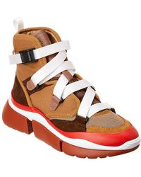 Chloé - Sonnie Suede & Mesh High-top Sneaker - Lyst
