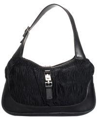 acb5ae326b Gucci - Black Pleated Leather & Nylon Jackie Shoulder Bag - Lyst
