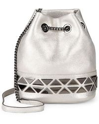 Vince Camuto - Triangle Chain Leather Bucket Bag - Lyst