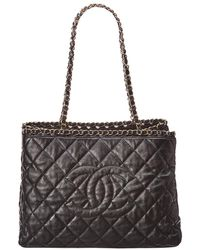 Chanel - Black Quilted Lambskin Leather Timeless Cc Tote - Lyst