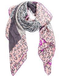 Louis Vuitton - Grey & Pink Animal Print Silk Scarf - Lyst