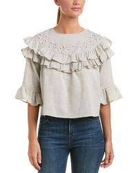Haute Rogue - Embellished Linen-blend Top - Lyst