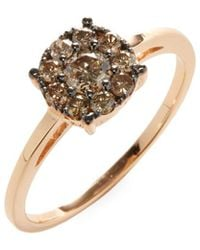 Suzanne Kalan - 14k Rose Gold Champagne Diamond Cluster Ring - Lyst