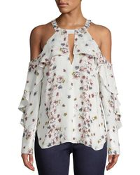 BCBGMAXAZRIA - Ruffled Floral Cold-shoulder Top - Lyst