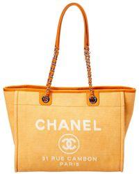 Chanel - Orange Canvas Deauville Tote - Lyst