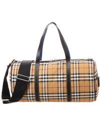 e4c236892837 Burberry - Medium Vintage Check Canvas   Leather Barrel Bag - Lyst