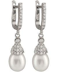 Splendid - Silver 7.5-8mm Pearl Cz Earrings - Lyst