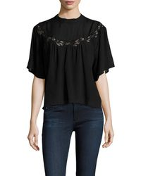 Marabelle - Gathered Lace Inset Blouse - Lyst