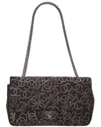 Chanel - Limited Edition Black Embellished Leather Medium Double Flap Bag - Lyst