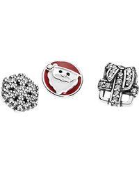PANDORA - Christmas Memories Silver Cz & Enamel Petites Locket Charm Pack - Lyst