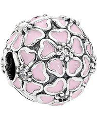 PANDORA - Cherry Blossom Soft Pink Enamel & Clear Cz Charm - Lyst