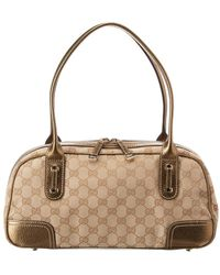 e941a560be6752 Gucci - Brown GG Canvas & Gold Leather Boston Bag - Lyst