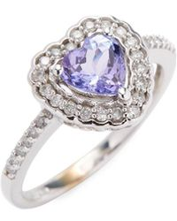 Rina Limor - 10k Heart Tanzanite & Diamond Halo Ring - Lyst