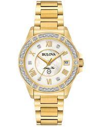 Bulova - Women's Marine Star Diamond Accent Gold-tone Stainless Steel Bracelet Watch 32mm 98r235 - Lyst