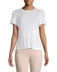 Rebecca Taylor - Ruched Short-sleeve Jersey Top - Lyst