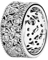 PANDORA - Shimmering Leaves Silver Cz Ring - Lyst