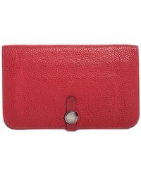 Hermès - Red Togo Leather Dogon Bifold Wallet - Lyst