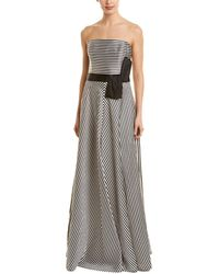 192268c3a9a3 Halston Strapless Metallic Evening Gown W/ Back Structured Flounce ...