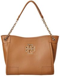 668b6ca8de04 Tory Burch Britten Small Slouchy Leather Tote in Brown - Lyst