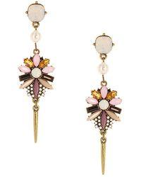 Sparkling Sage - 14k Plated Crystal & Resin Flower Drop Earrings - Lyst