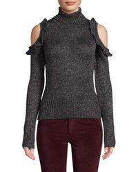 Jill Stuart - Metallic Cold-shoulder Sweater - Lyst