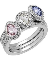 Swarovski - Crystal Christie Plated Stainless Steel Ring Set - Lyst