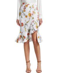 Prabal Gurung - Ruffle Hem Floral Skirt - Lyst