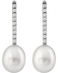 Splendid - Rhodium Plated Silver 8-8.5mm Freshwater Pearl Drop Earrings - Lyst